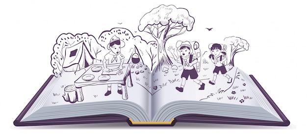 Libro abierto. descanso de verano. scouts en el campamento Vector Premium