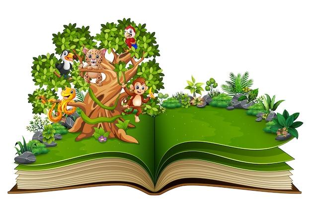 Libro Abierto Con Dibujos Animados De Animales En Los árboles