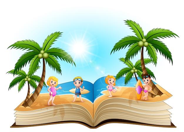 Libro Abierto Con Dibujos Animados Niños Felices En La