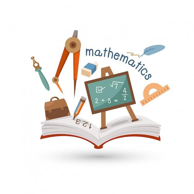 Libro abierto e íconos de las matemáticas. Vector Premium