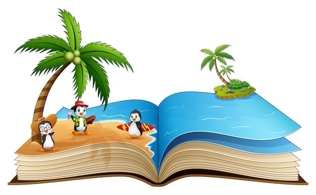 Libro Abierto Con Grupo De Pingüinos De Surf De Dibujos