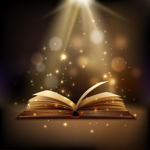 Libro abierto con luz mística brillante. vector gratuito