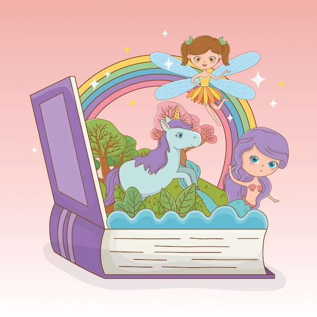 Libro abierto con sirena de cuento de hadas y hada con unicornio vector gratuito