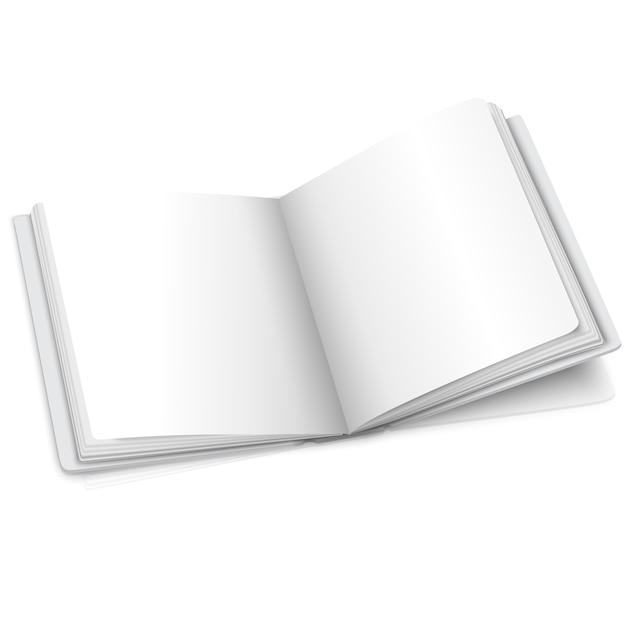 Libro abierto de vector blanco en blanco o álbum de fotos para sus mensajes, conceptos de diseño, fotos, etc. Vector Premium