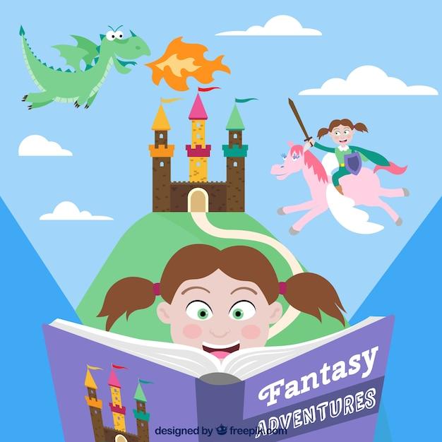Libro de aventura fantasiosa vector gratuito