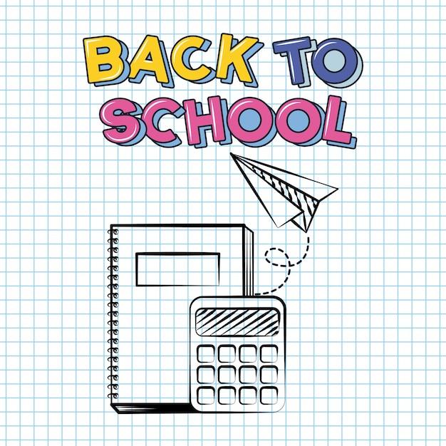Libro, calculadora y avión de papel, doodle de regreso a la escuela dibujado en una hoja de cuadrícula vector gratuito