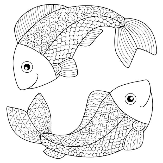 Libro para colorear para adultos. silueta de flechas y arco sobre fondo blanco. signo zodiacal piscis. pez. Vector Premium