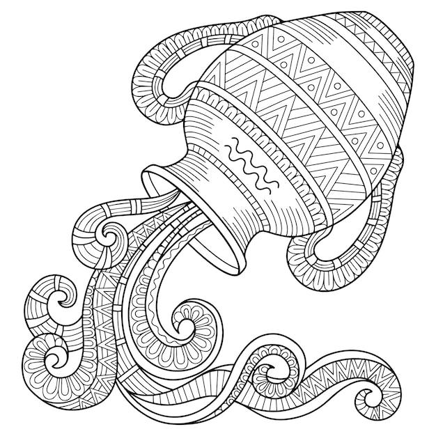 Libro de colorear para adultos. silueta de jarra sobre fondo blanco. signo zodiacal acuario Vector Premium