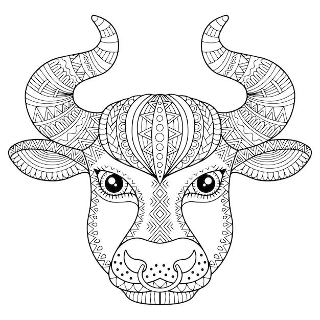 Libro para colorear para adultos. silueta de toro sobre fondo blanco. signo zodiacal tauro. estampado animal. Vector Premium