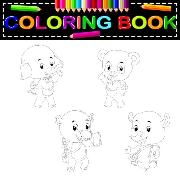 Libro para colorear de animales salvajes | Descargar Vectores Premium