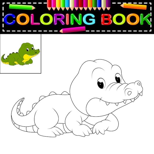 Libro de colorear de cocodrilo | Descargar Vectores Premium