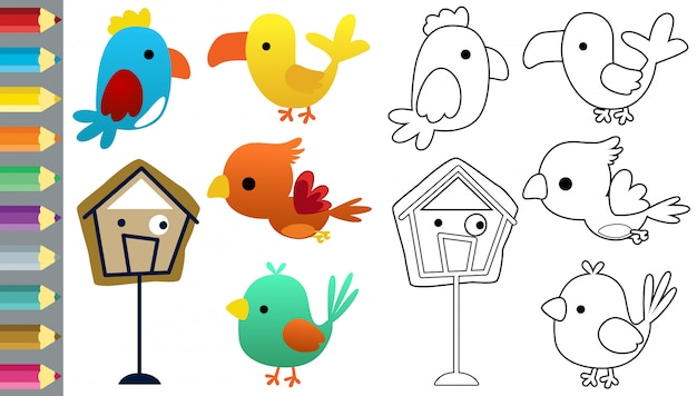 Libro para colorear con conjunto de dibujos animados de pájaros graciosos Vector Premium