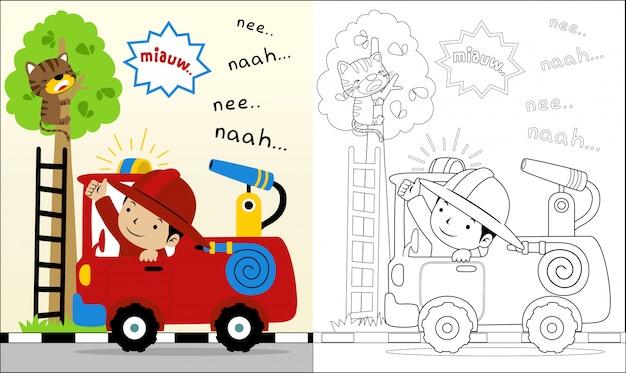 Libro para colorear con dibujos animados de hombre de fuego ayudar a un gato Vector Premium