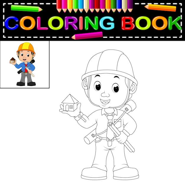 Libro para colorear de joven arquitecto   Descargar Vectores Premium