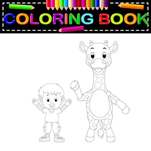 Libro para colorear lindo niño y jirafa | Descargar Vectores Premium