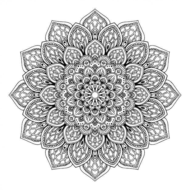 Libro de colorear mandala, terapia oriental doodle de yoga Vector Premium