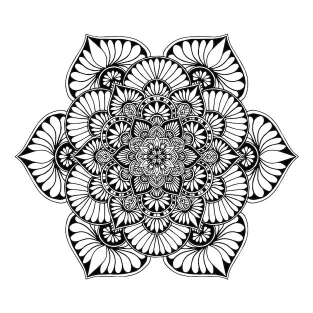 Libro para colorear mandalas, terapia oriental, logotipos de yoga vector. Vector Premium