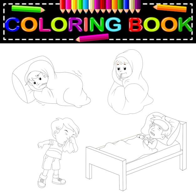 Libro Para Colorear De Niños Enfermos Vector Premium