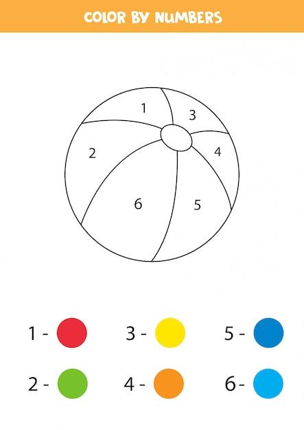 Libro para colorear para niños con pelota de juguete de dibujos animados lindo. Vector Premium