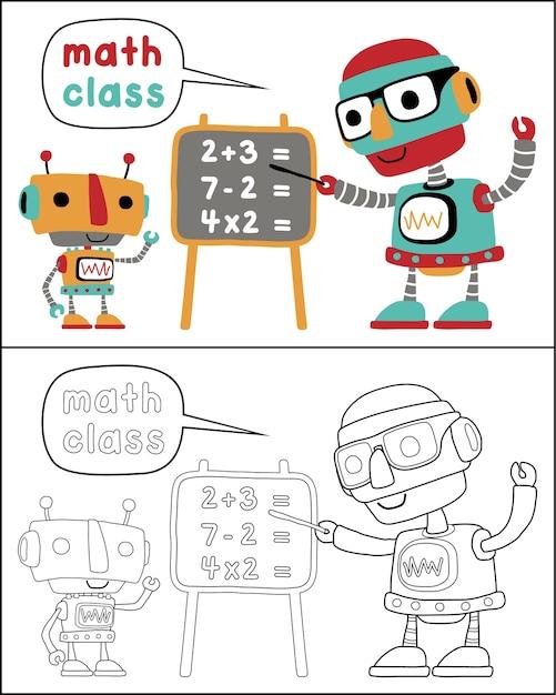 Libro Para Colorear O Página Con Dibujos Animados De Robots