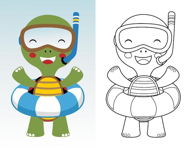 Libro Para Colorear O Página De Dibujos Animados De Tortuga Lindo