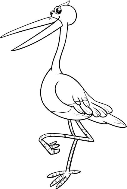 Libro de colorear pájaro de la cigüeña   Descargar Vectores Premium