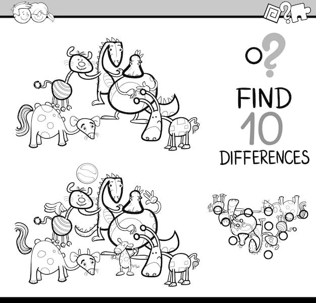 Libro de colorear de tarea de diferencias | Descargar Vectores Premium