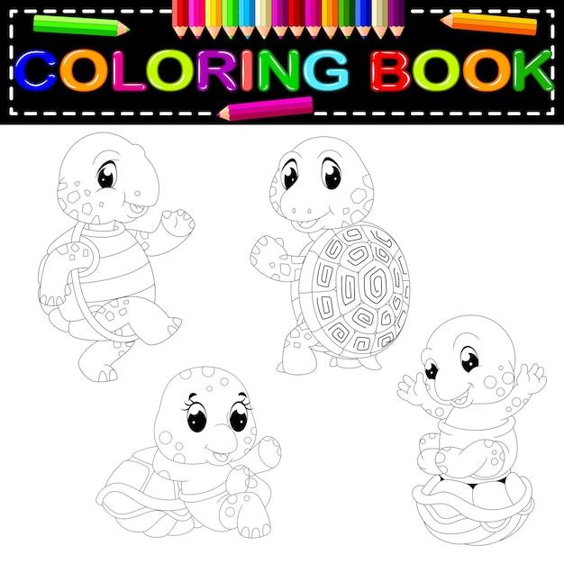 Libro para colorear de tortuga | Descargar Vectores Premium