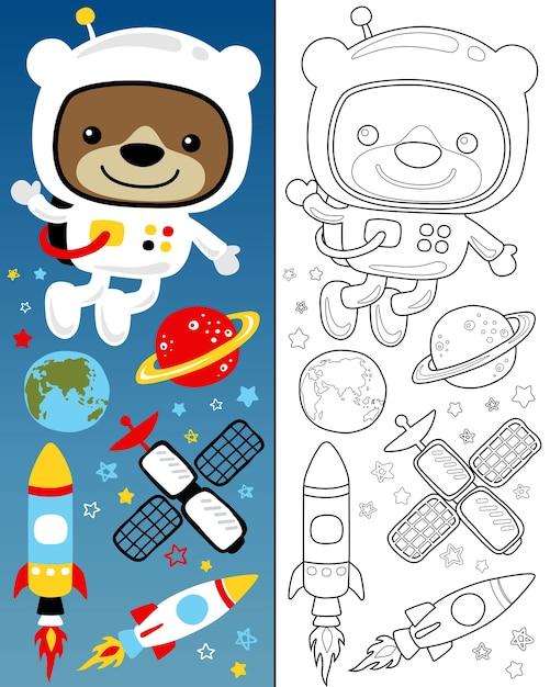 Libro de colorear con vector conjunto de dibujos animados de espacio ...