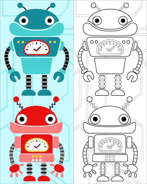 Libro Para Colorear Vector Con Dibujos Animados De Robots