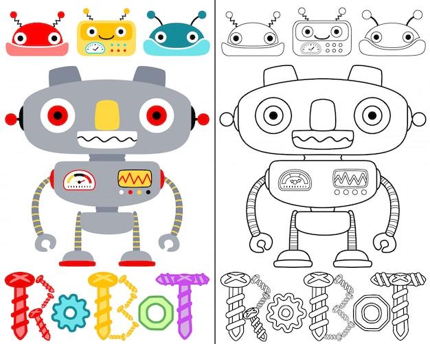 Libro para colorear vector con dibujos animados de robots ...