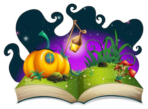 Libro de cuentos con casa de calabaza en la noche vector gratuito