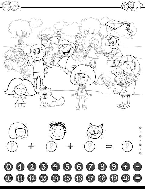 Libro de colorear de actividad matemática | Descargar Vectores Premium