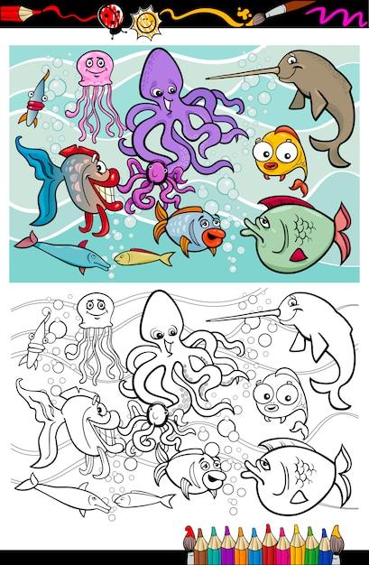 Libro de colorear de animales de la vida marina   Descargar Vectores ...