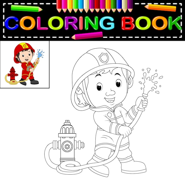 Libro de colorear de bombero | Descargar Vectores Premium