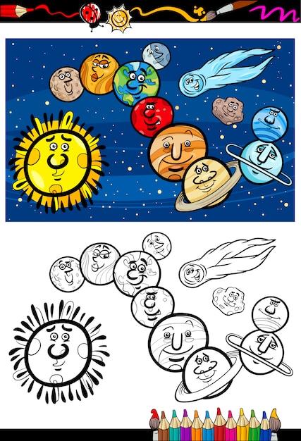 Libro de colorear de dibujos animados del sistema solar   Descargar ...