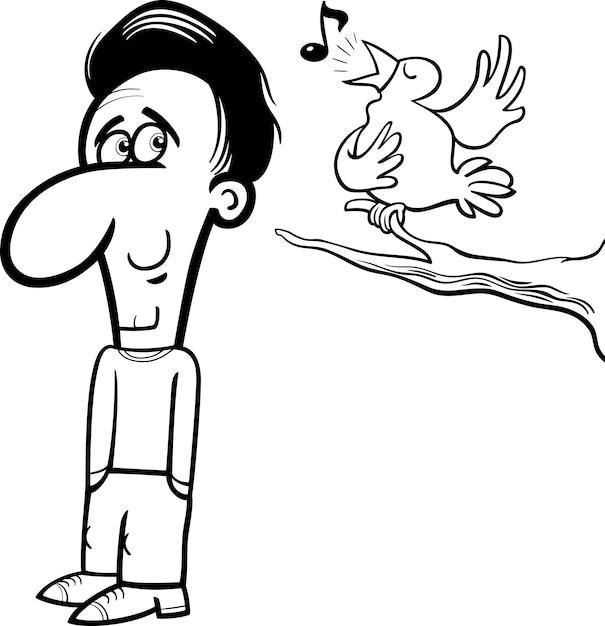 Libro de colorear de dibujos animados hombre y pájaro | Descargar ...