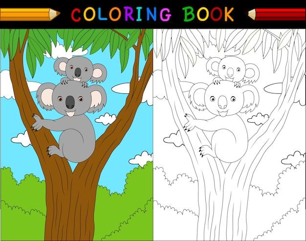 Libro de colorear de koala de dibujos animados, serie de animales ...