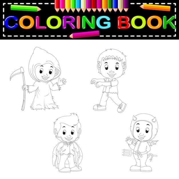 Libro de colorear de niños halloween | Descargar Vectores Premium