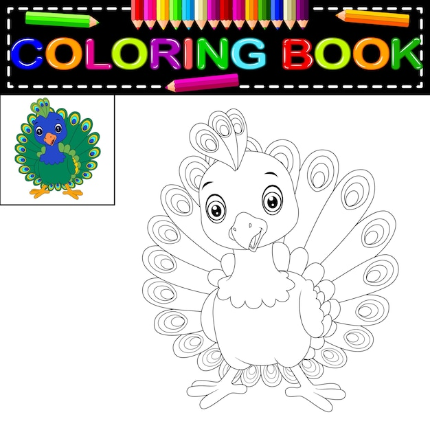 Libro de colorear de pavo real | Descargar Vectores Premium