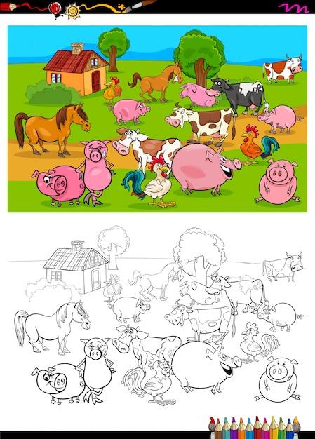 Libro de colorear de personajes de animales de granja   Descargar ...