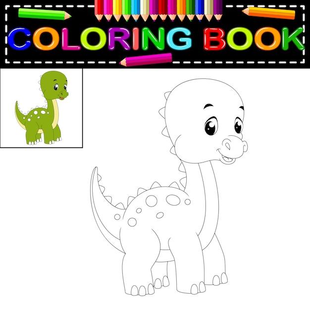 Libro de colorear dinosaurio | Descargar Vectores Premium