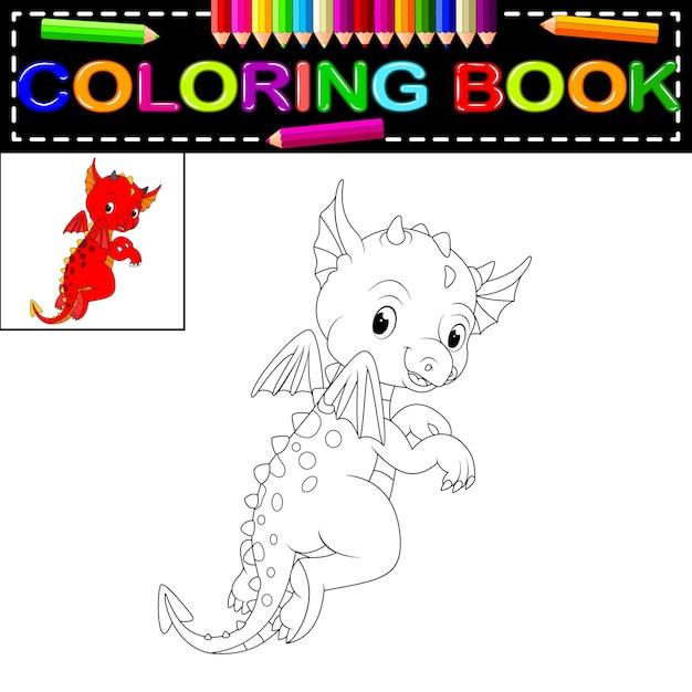 Libro de colorear dragón | Descargar Vectores Premium