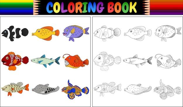 Libro de colorear varios peces | Descargar Vectores Premium