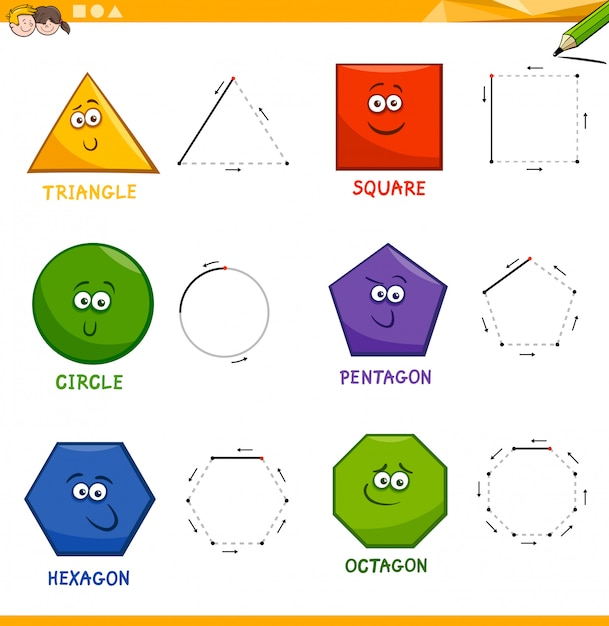 Libro De Dibujo De Formas Geométricas Básicas Vector Premium