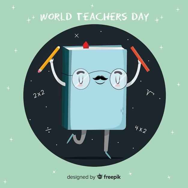Libro de dibujos animados de diseño falso para el día mundial de los docentes vector gratuito