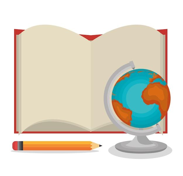 Libro de dibujos animados lápiz de globo abierto   Descargar ...