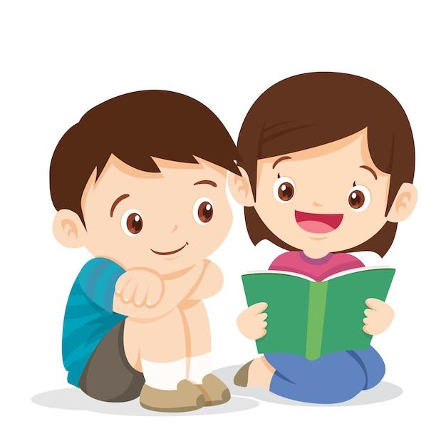 Libro de lectura linda chica con chico Vector Premium