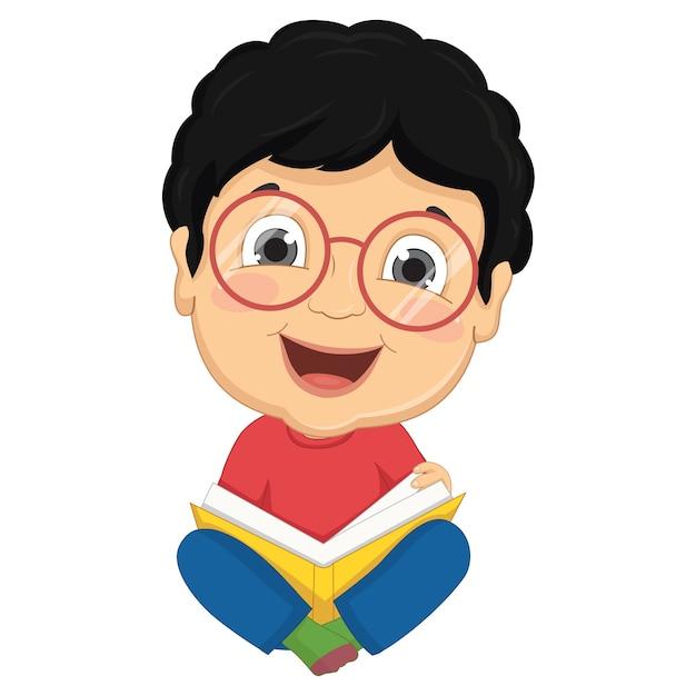 Libro de lectura para niños Vector Premium
