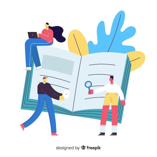 Libro lleno de nuevo concepto universitario de información vector gratuito